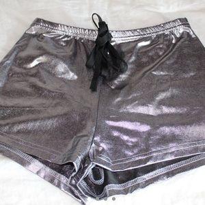 Silver metallic drawstring shorts